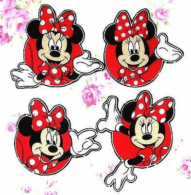 ❤️ Lot 4 Patchs Thermocollant Tissu Disney Minnie Embellissements Scrap