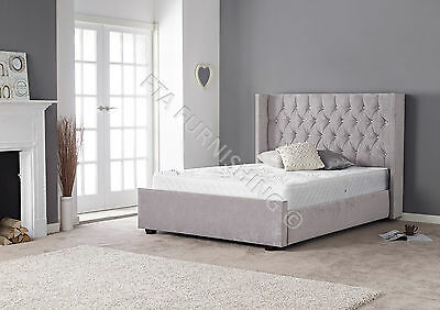 Grey Silver Fabric Bedframe Diamante Crystal Headboard Luxury Padded Quality Bed