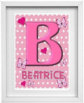 BABY GIRL NAME | Nursery Picture | Personalised Name | Pink | Gift (NP016)