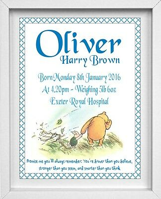 NEW BORN BABY BOY | Nursery Picture | Winnie the Pooh | Personalised  | (NP020)