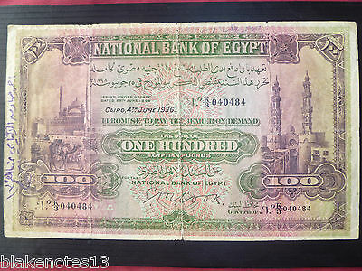 Egypt Lot P-17c 1936 100 Egyptian Pounds F- Cairo RARE Add Collection