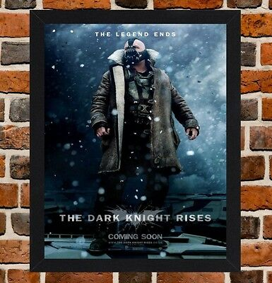 Framed The Dark Knight Rises Movie Poster A4 / A3 Size In Black / White Frame -
