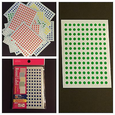13000pcs X 5mm. 5 Colors Round Circle Spot Dot Marker Adhesive Stickers-Japan