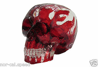 Red Hot Flame Clear Project Skull Plastic Halloween Skeleton Decoration Prop