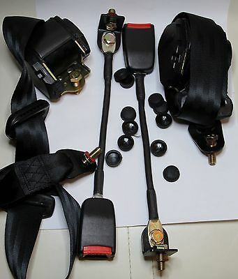 Classic Fiat 500 / Fiat 126 / Mini Front Seat Belt 3 Point Automatic Kit Black