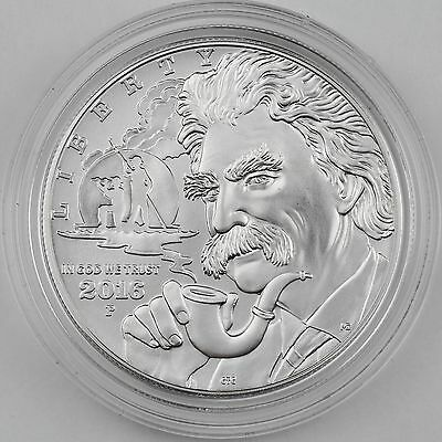 2016-P Mark Twain Silver Dollar Uncirculated Commemorative Coin, Mint Box COA
