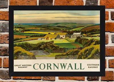Framed Cornwall Railway Travel Poster A4 / A3 Size In Black / White Frame (R-3)