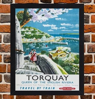 Framed Torquay Devon Railway Travel Poster A4 / A3 Size In Black / White Frame