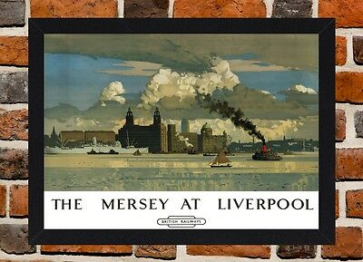Framed Mersey At Liverpool Railway Travel Poster A4/A3 Size In Black/White Frame