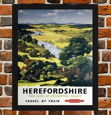 Framed Herefordshire Railway Travel Poster A4/A3 Size In Black/White Frame