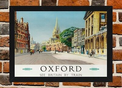Framed Oxford Railway Travel Poster A4 / A3 Size In Black / White Frame