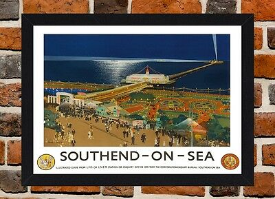 Framed Southend On Sea Essex Travel Poster A4 / A3 Size In Black / White Frame .