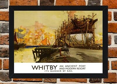 Framed Whitby Railway Travel Poster A4 / A3 Size In Black / White Frame.
