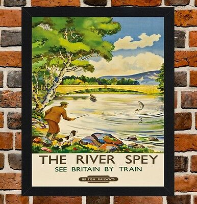 Framed The River Spey Railway Travel Poster A4 / A3 Size In Black / White Frame