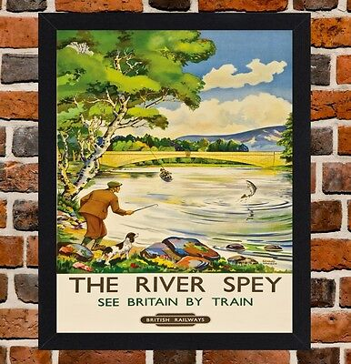 Framed The River Spey Scotland Travel Poster A4 / A3 Size In Black / White Frame