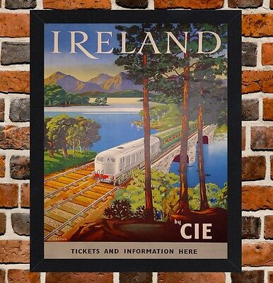 Framed Ireland By CIE Railway Travel Poster A4 / A3 Size In Black / White Frame