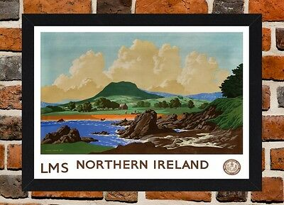 Framed Northern Ireland Railway Travel Poster A4/A3 Size In Black/White Frame