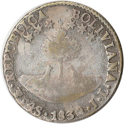 1830 Bolivia 4 Soles Large Silver Coin KM#96a.1