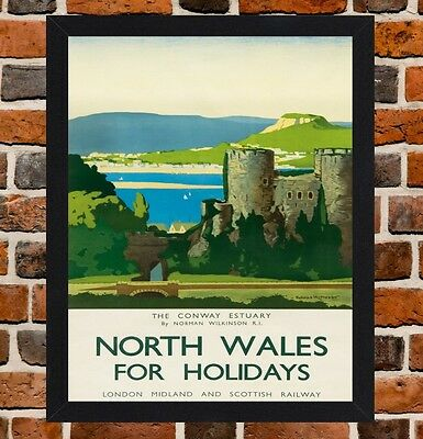 Framed North Wales Railway Travel Poster A4 / A3 Size In Black / White Frame