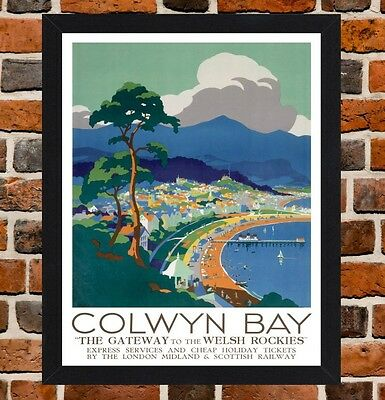 Framed Colwyn Bay Railway Travel Poster A4 / A3 Size In Black / White Frame
