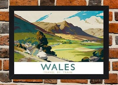 Framed Wales Railway Travel Poster A4 / A3 Size In Black / White Frame (R-3)