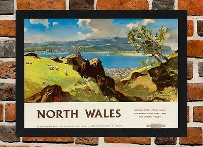 Framed North Wales Railway Travel Poster A4 / A3 Size In Black / White Frame .