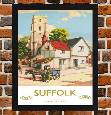Framed Suffolk Railway Travel Poster A4 / A3 Size In Black / White Frame