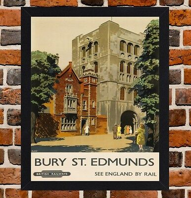 Framed Bury St Edmunds Railway Travel Poster A4 / A3 Size In Black / White Frame