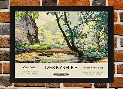 Framed Derbyshire Railway Travel Poster A4 / A3 Size In Black / White Frame.