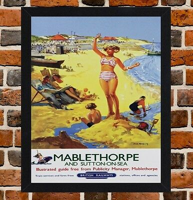 Framed Mablethorpe Railway Travel Poster A4 / A3 Size In Black / White Frame