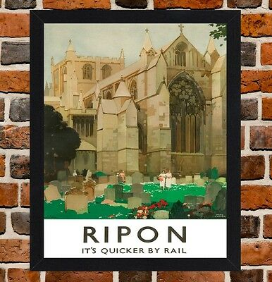 Framed Ripon Railway Travel Poster A4 / A3 Size In Black / White Frame