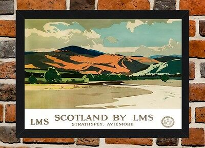 Framed Strathspey Aviemore Travel Poster A4 / A3 Size In Black / White Frame