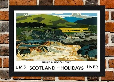 Framed Fishing In Scotland Galloway Travel Poster A4 / A3 Size In Black Frame