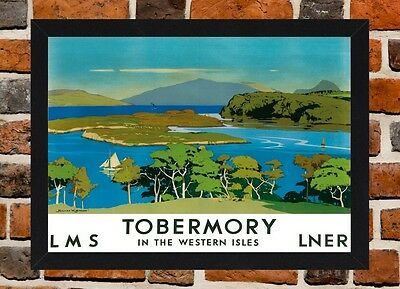 Framed Tobermory Railway Travel Poster A4 / A3 Size In Black / White Frame