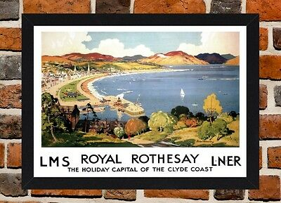 Framed Royal Rothesay Isle Of Bute Travel Poster A4 / A3 Size In Black Frame