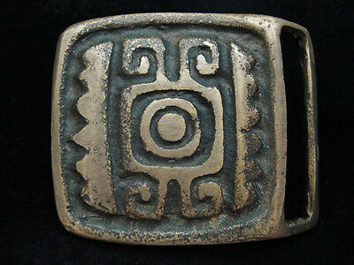 PA11172 VINTAGE 1970s **TRADITIONAL ART** SOUTHWESTERN DESIGN SOLID BRASS BUCKLE
