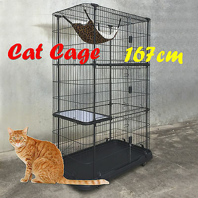 4 Level Storey Alloy Metal Cat Cage Hamster Enclosure With Wheels 167x111x61cm