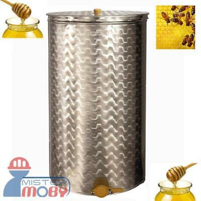 Honey Settling Stainless Steel Tank Bucket 75L With Valve Beekeeping Made Italy