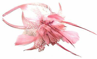 Pink fascinator chiffon flower on alice hair band with feather tendrils