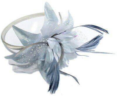 Silver grey fascinator chiffon flower on alice hair band with feather tendrils