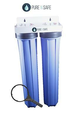 """TWIN WHOLE HOUSE WATER FILTER HOUSING 20"""" x 2.5"""""""