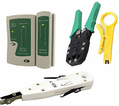 Ethernet Network Kit RJ45 RJ11 Cable Tester Crimping Tool Punch Down Krone Tool