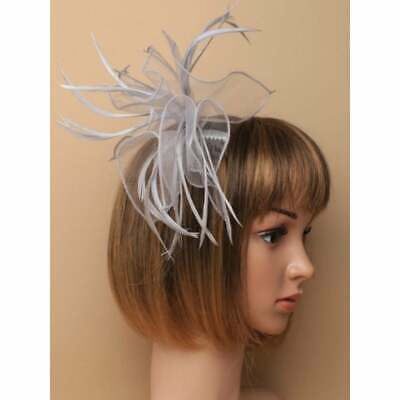 Silver grey fascinator comb with looped fabric and feather tendrils