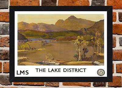 Framed Lake District Cumbria Travel Poster A4 / A3 Size In Black / White Frame