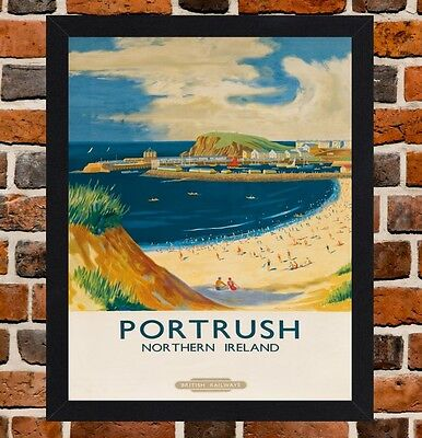 Framed Portrush Northern Ireland Travel Poster A4/A3 Size In Black/White Frame