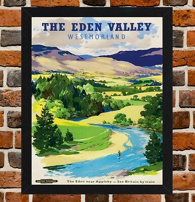 Framed The Eden Valley Railway Travel Poster A4 / A3 Size In Black / White Frame