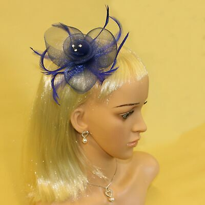 Dark blue fascinator with sinamay flower and feather tendrils (beak clip and ...