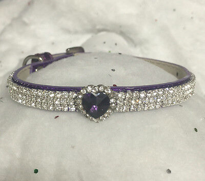 Sugarlicious Pets™  Purple HEART Rhinestone Dog Pet or Cat Safety Collar USA