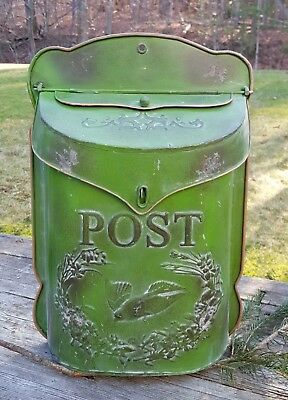 French Country Painted Post Box Green
