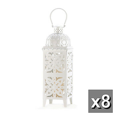 "8 large 25"" tall WHITE Moroccan Candle holder Lantern Lamp outdoor patio garden"